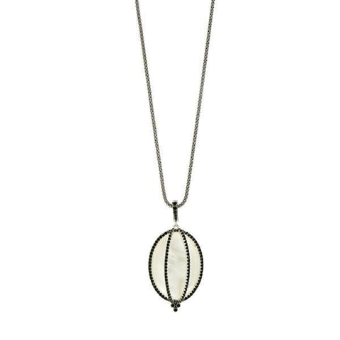 Industrial Finish Caged Mother of Pearl Pendant Necklace - IFPKMN47-30-Freida Rothman-Renee Taylor Gallery