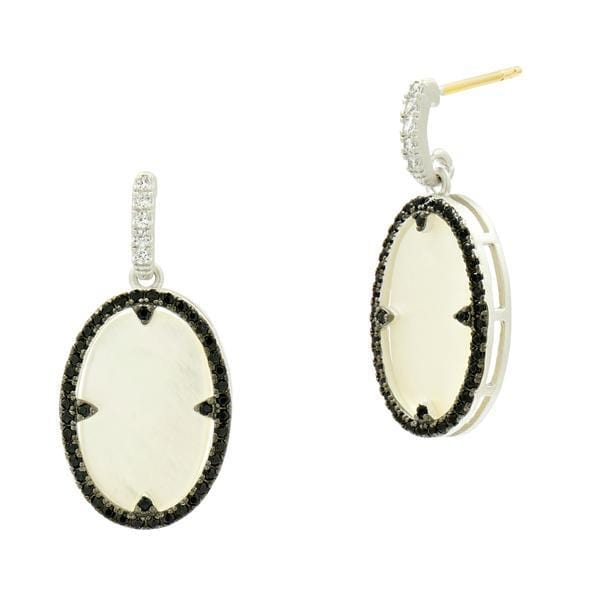 Industrial Finish Mother Of Pearl Oval Short Drop Earring - IFPKZME49-14K