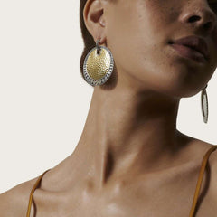 Dot Hammered Large Disc Earring - EZ30067-John Hardy-Renee Taylor Gallery