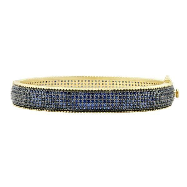 Midnight Pavé Hinge Bangle - YRB080186B-BL-H-Freida Rothman-Renee Taylor Gallery