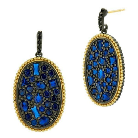 Midnight Oval Statement Earring - YRE020407B-M-14K-Freida Rothman-Renee Taylor Gallery