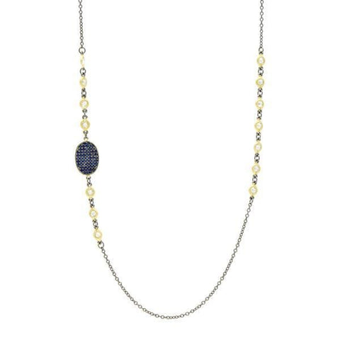 "Midnight 36"" Station Necklace - YRZ070465B-BL-36-Freida Rothman-Renee Taylor Gallery"