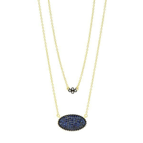 Midnight Oval Pavé Double Pendant Necklace - YRZ070467B-BL-16E-Freida Rothman-Renee Taylor Gallery