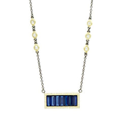 Midnight Baguette Bar Pendant Necklace - YRZ070468B-BL-16E-Freida Rothman-Renee Taylor Gallery