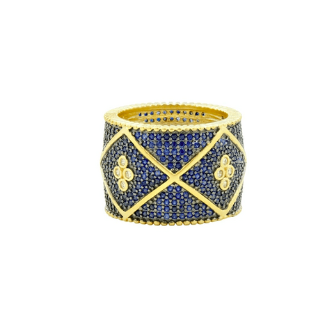 Midnight Pavé Cigar Band - YRZR090205B-BL-Freida Rothman-Renee Taylor Gallery