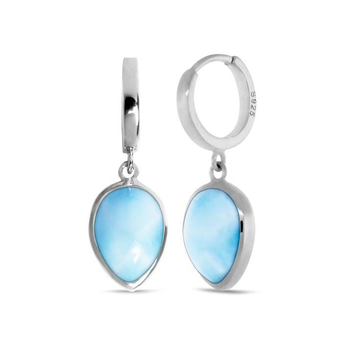 Pear Hoop Earrings - Ebasi07-00-Marahlago Larimar-Renee Taylor Gallery