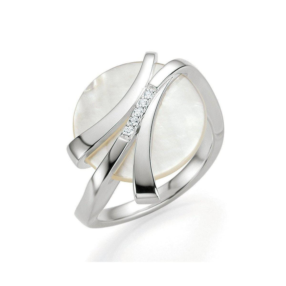 Rhodium Plated Sterling Silver Mother of Pearl and Brilliant Diamond Ring - 41/82634-Breuning-Renee Taylor Gallery
