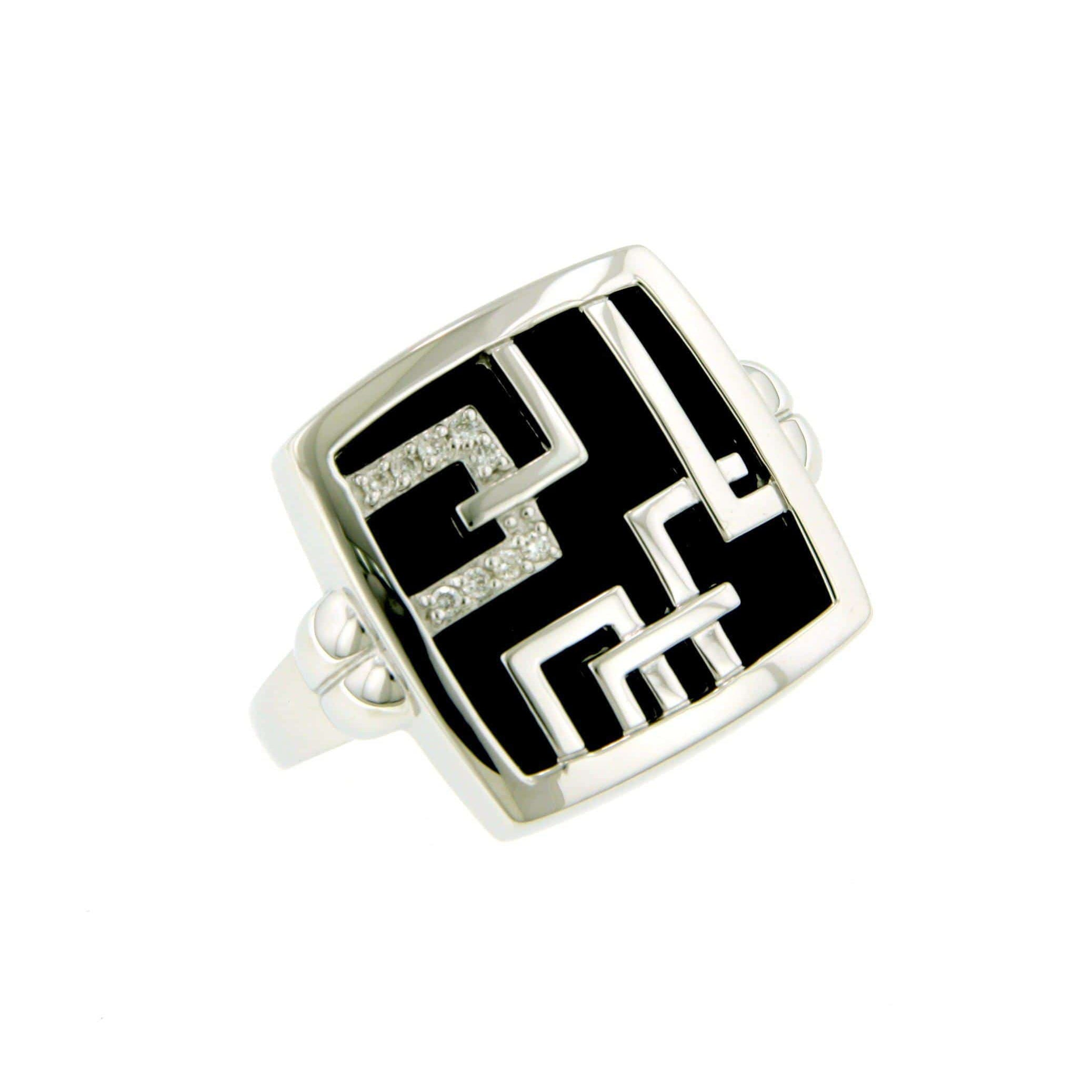 Sterling Silver Onyx Brilliant Diamond Ring - 41/83663-Breuning-Renee Taylor Gallery