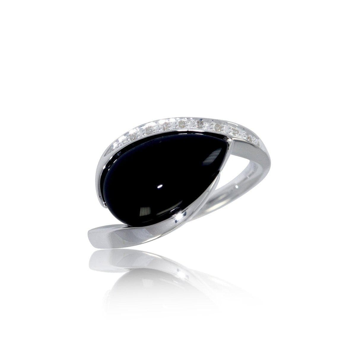Rhodium Plated Sterling Silver Onyx & Brilliant Diamond Ring - 41/82651-Breuning-Renee Taylor Gallery