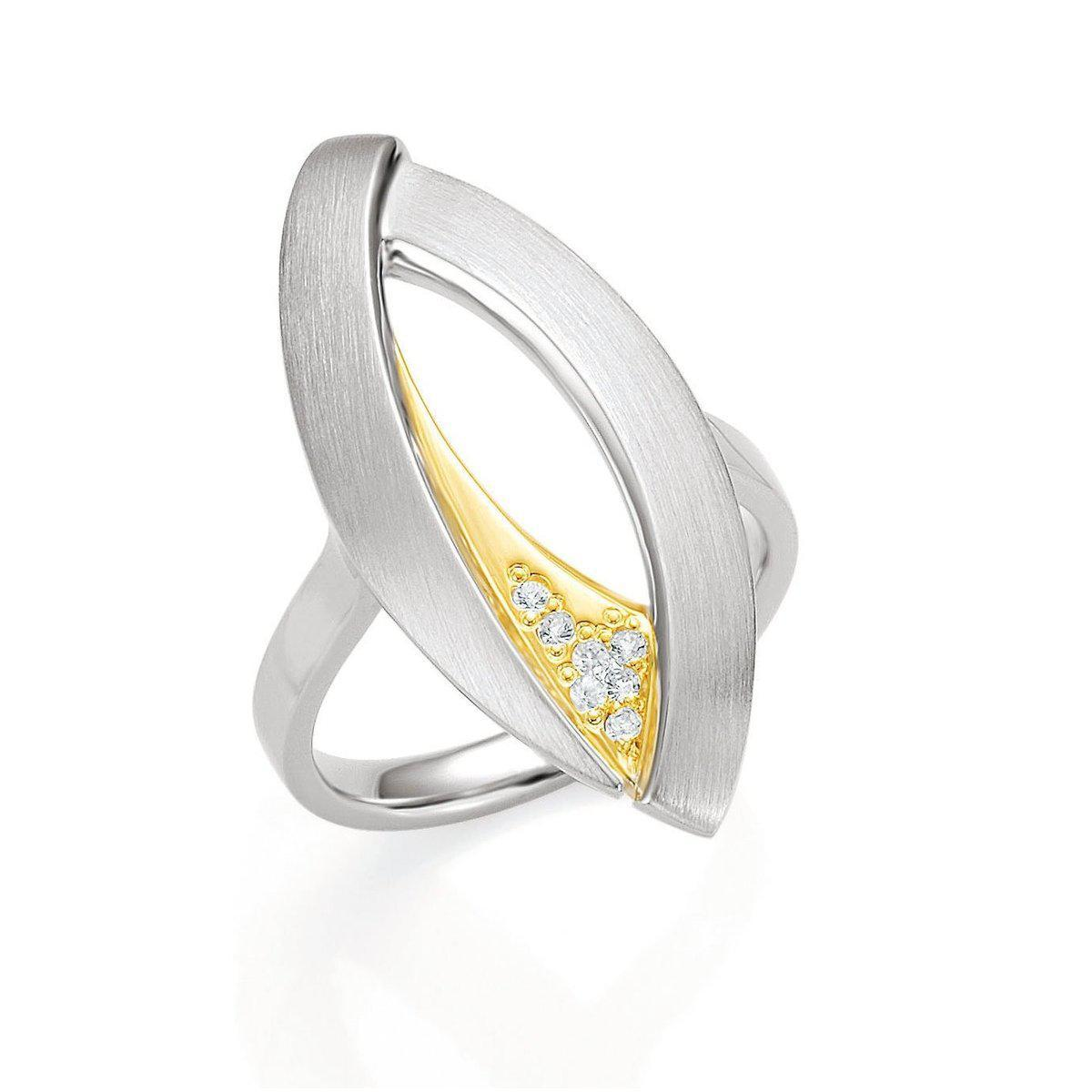 Yellow Gold Plated Sterling Silver White Sapphire Ring - 42/03191-Breuning-Renee Taylor Gallery