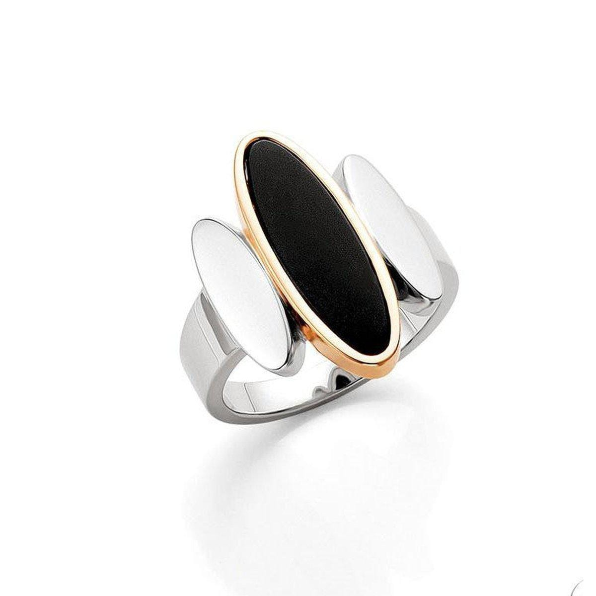 Rose Gold & Rhodium Plated Sterling Silver Onyx Ring - 42/03201-Breuning-Renee Taylor Gallery