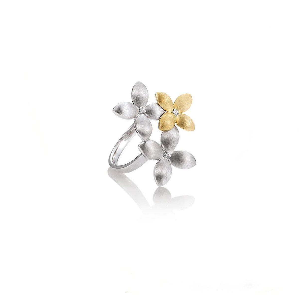 Yellow Gold & Rhodium Plated Sterling Silver White Sapphire Ring - 42/03204-Breuning-Renee Taylor Gallery
