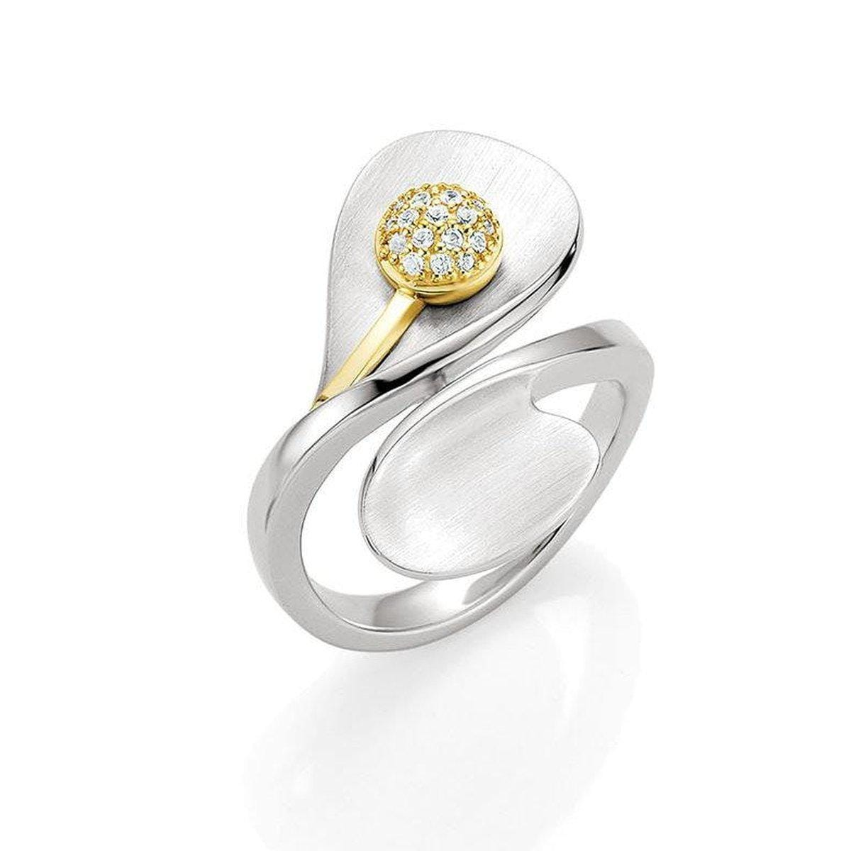 Yellow Gold & Rhodium Plated Sterling Silver White Sapphire Ring - 42/03222-Breuning-Renee Taylor Gallery