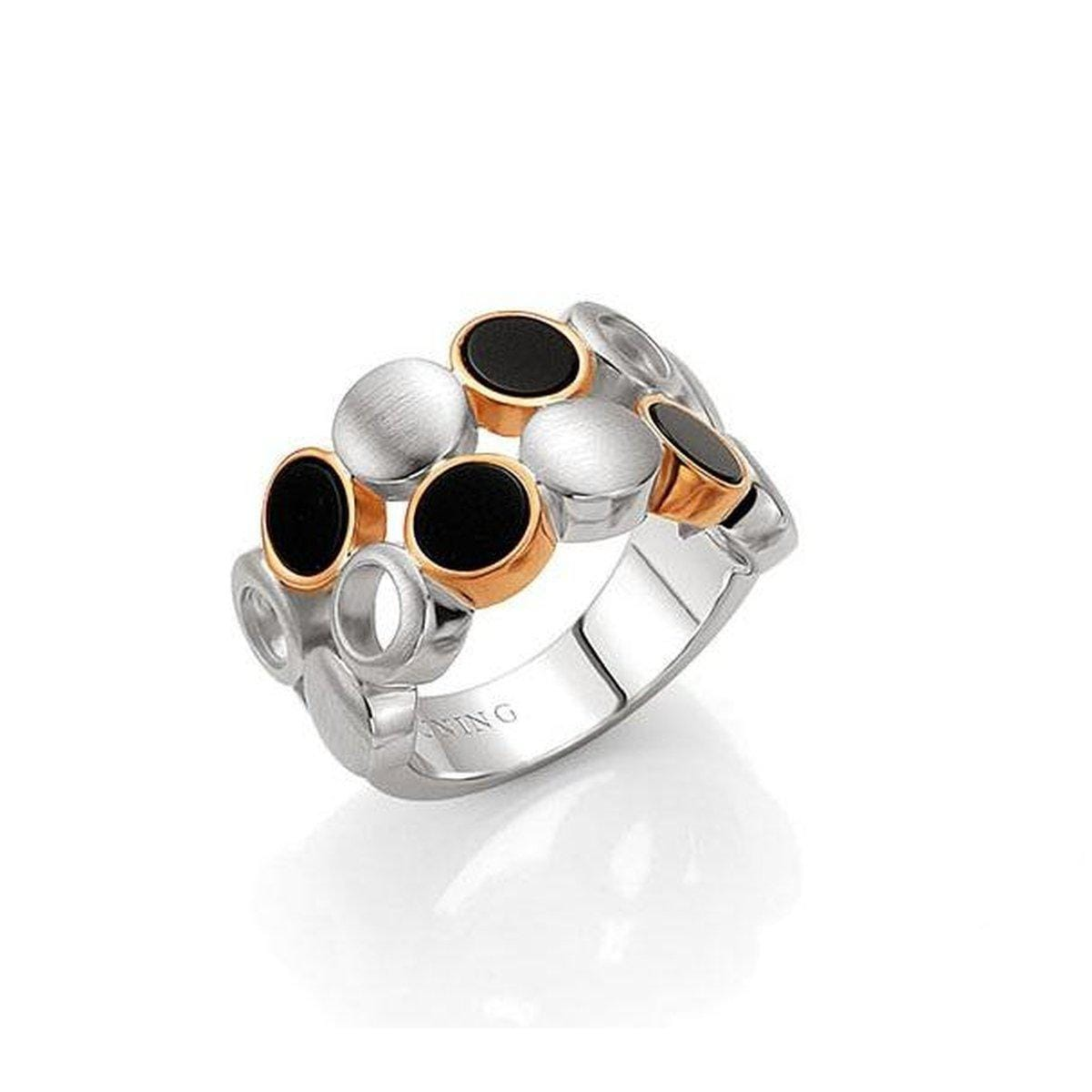 Rose Gold & Rhodium Plated Sterling Silver Onyx Ring - 42/03224-Breuning-Renee Taylor Gallery