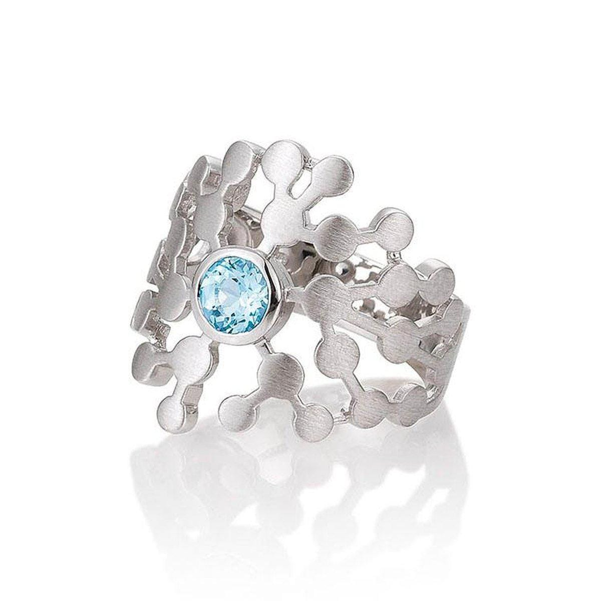 Rhodium Plated Sterling Silver Blue Topaz Ring - 42/03268-Breuning-Renee Taylor Gallery