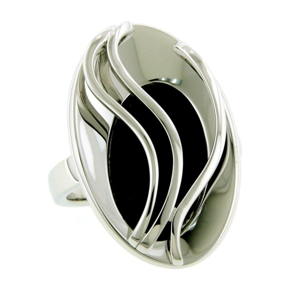 Rhodium Plated Sterling Silver Onyx Ring - 42/08696-Breuning-Renee Taylor Gallery
