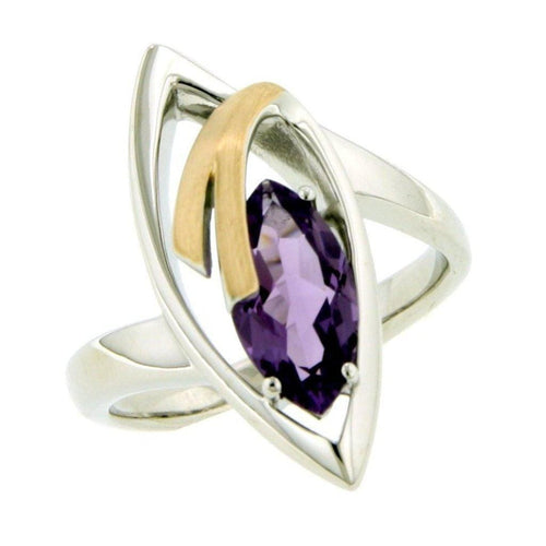 Rose Gold Plated Sterling Silver Amethyst Ring - 42/83711-AM-Breuning-Renee Taylor Gallery
