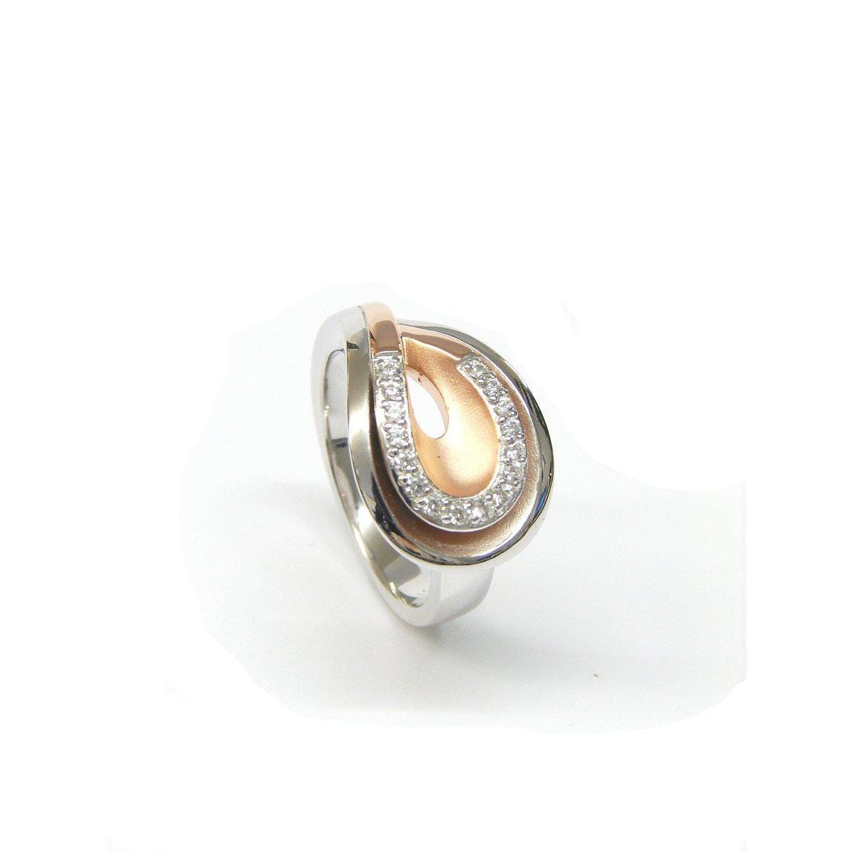 Rose Gold Plated Sterling Silver White Sapphire Ring - 42/84806-3-Breuning-Renee Taylor Gallery