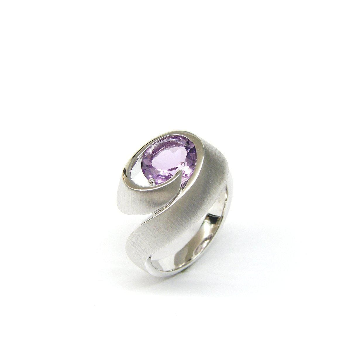 Rhodium Plated Sterling Silver Amethyst Ring - 42/84835-AM-Breuning-Renee Taylor Gallery