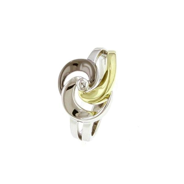 Yellow Gold Plated Sterling Silver White Sapphire Ring - 42/85699-8-Y-Breuning-Renee Taylor Gallery