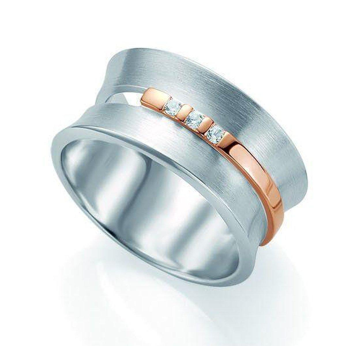 Rose Gold & Rhodium Plated Sterling Silver White Sapphire Ring - 42/03180-Breuning-Renee Taylor Gallery