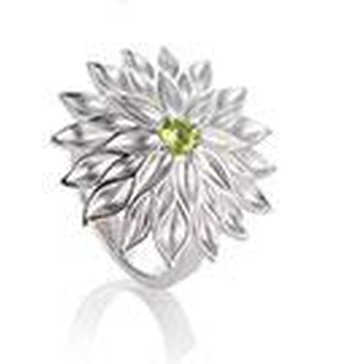 Rhodium Plated Sterling Silver Peridot Ring - 42/03206-PE-Breuning-Renee Taylor Gallery