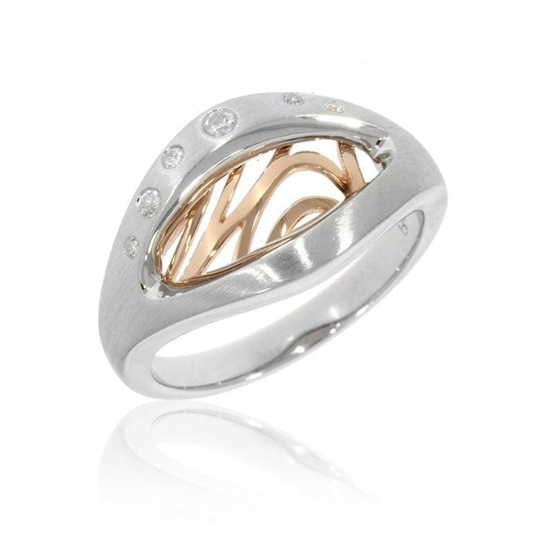 Rose Gold & Rhodium Plated Sterling Silver White Sapphire Ring - 42/03342-Breuning-Renee Taylor Gallery