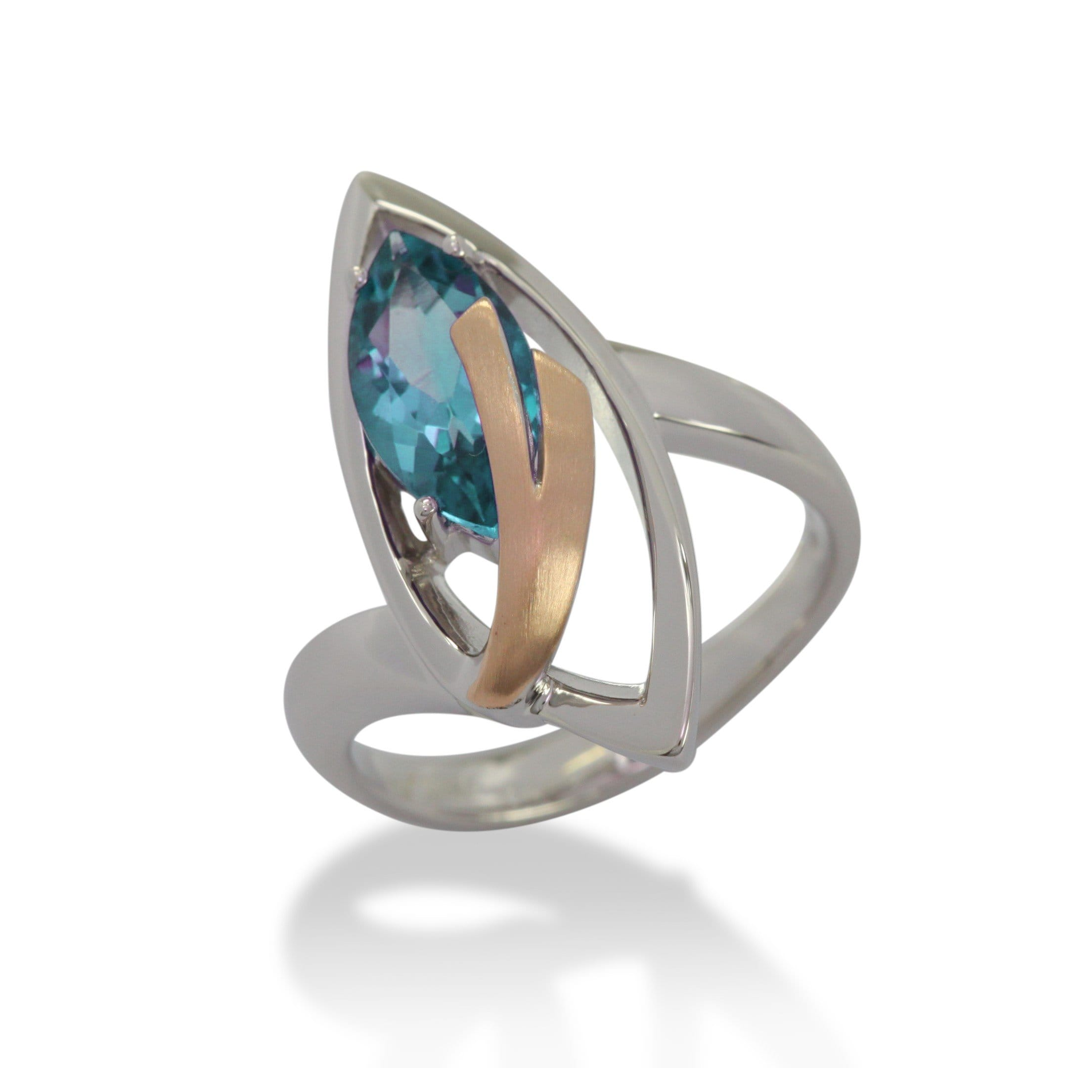 Rose Gold Plated Sterling Silver Blue Topaz Ring - 42/83711-BT-Breuning-Renee Taylor Gallery