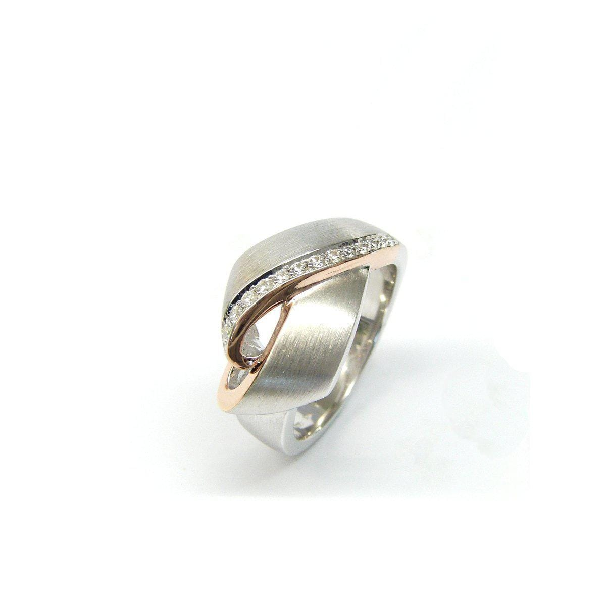 Rose Gold Plated Sterling Silver White Sapphire Ring - 42/84807-3-Breuning-Renee Taylor Gallery