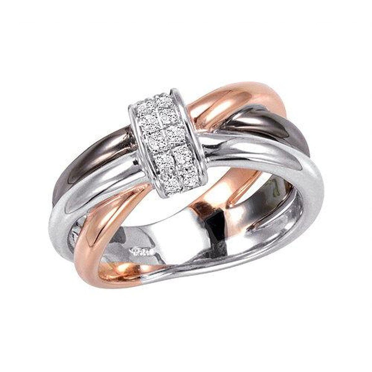 Rose Gold & Rhodium Plated Sterling Silver White Sapphire Ring - 42/85727-Breuning-Renee Taylor Gallery