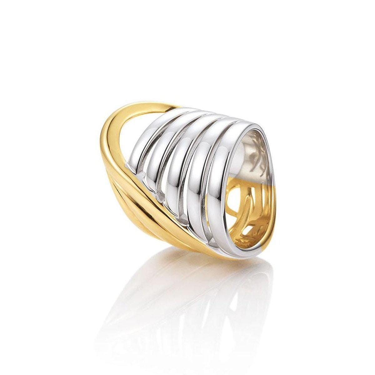 Yellow Gold & Rhodium Plated Sterling Silver Ring - 44/01424-Breuning-Renee Taylor Gallery