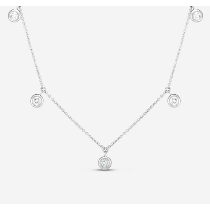 18k White Gold & Diamond Five Drop Station Necklace - 530009AWCHX0-Roberto Coin-Renee Taylor Gallery