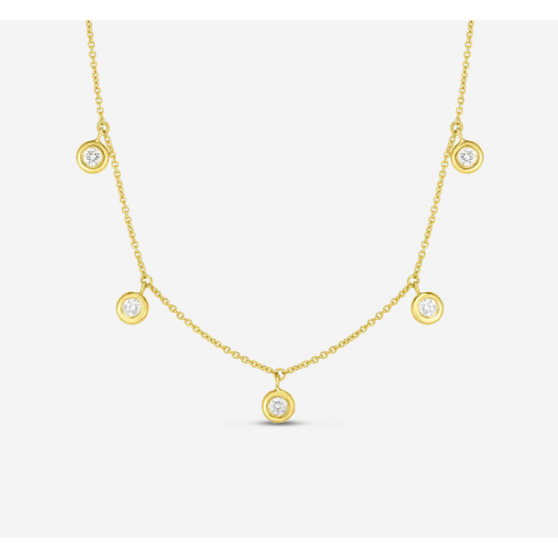 18k Yellow Gold & Diamond Five Drop Station Necklace - 530009AYCHX0-Roberto Coin-Renee Taylor Gallery