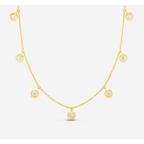 18k Yellow Gold & Diamond Seven Drop Station Necklace - 530011AWCHX0-Roberto Coin-Renee Taylor Gallery