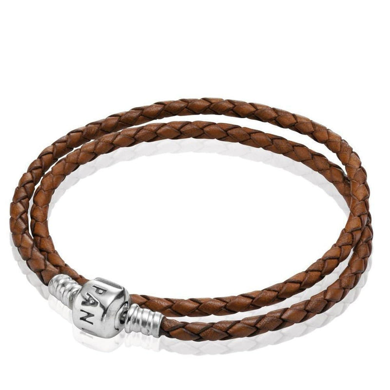 Double Brown Leather Bracelet - 590705CBN-D3-Pandora-Renee Taylor Gallery