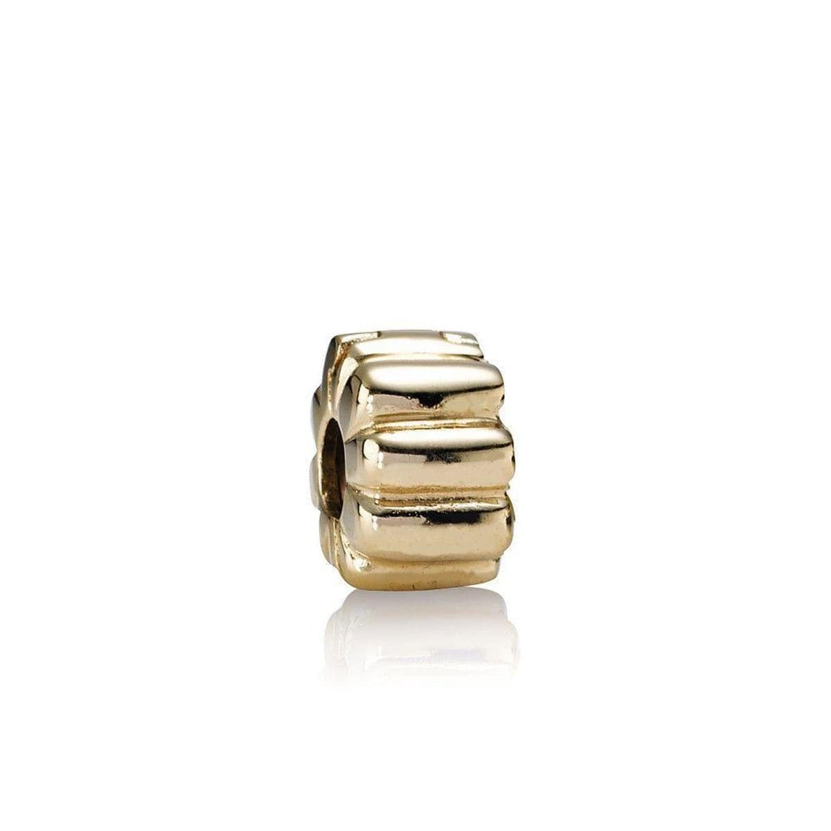 Ribbed 14K Gold Clip Charm - 750118