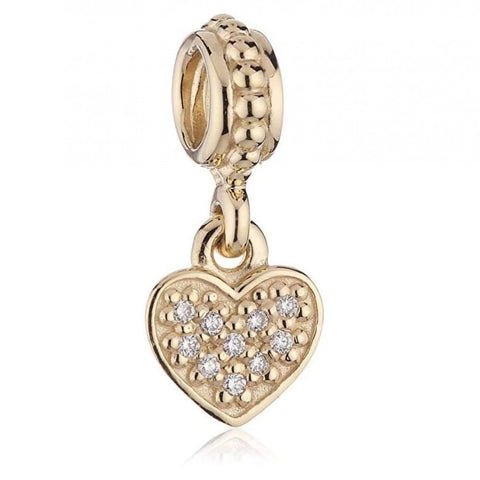 Pave Brilliant Heart 14K Gold & Diamond Charm - 750809D-Pandora-Renee Taylor Gallery