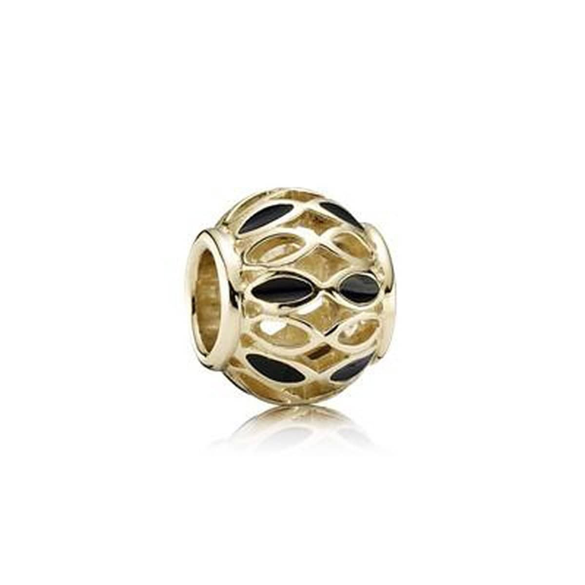 Royal Victorian 14K Gold Black Enamel Charm - 750814EN16