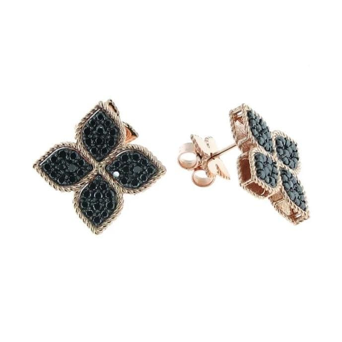 18k Rose Gold & Black Diamond Earrings Large - 7771705AXERB-Roberto Coin-Renee Taylor Gallery