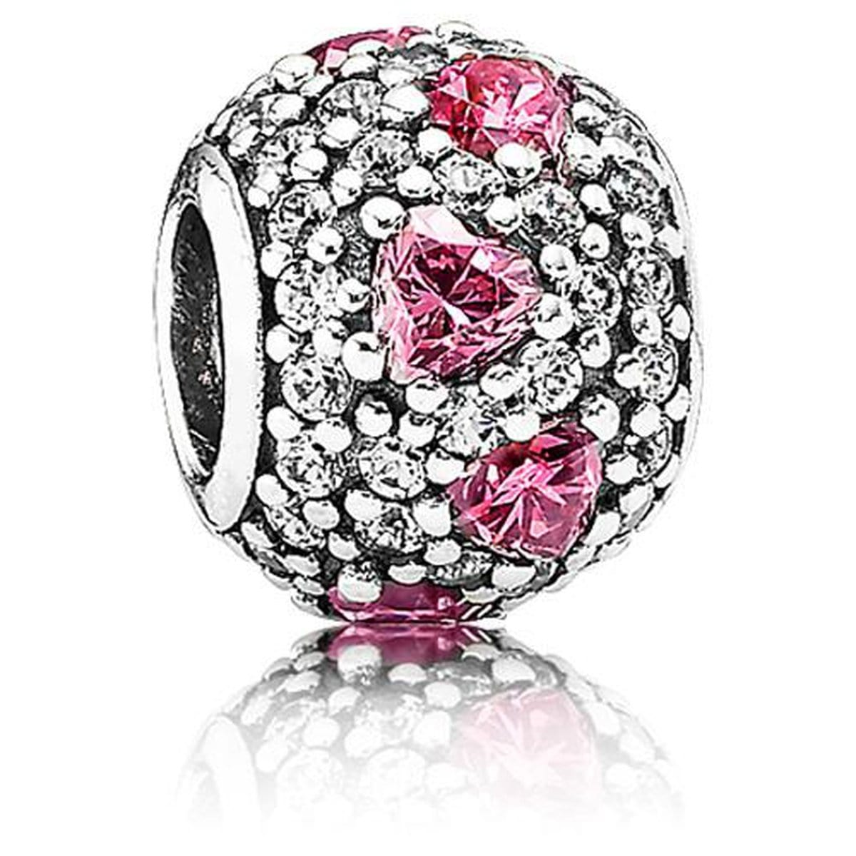Bead Shimmering Heart Pink Cubic Zirconia Charm - 791249CZS-Pandora-Renee Taylor Gallery