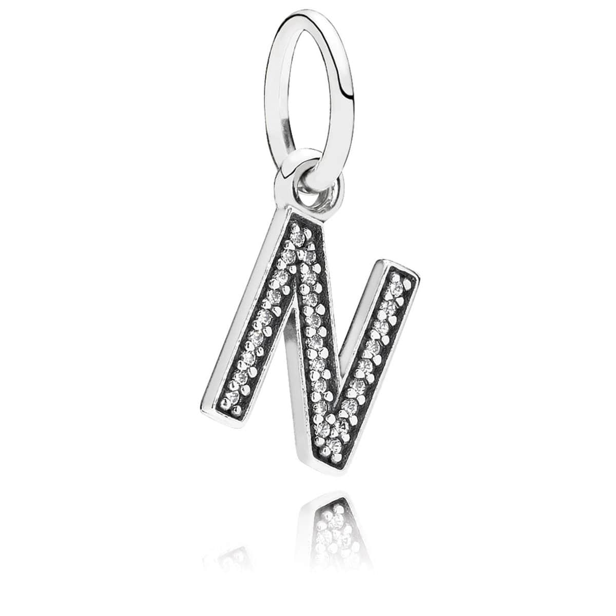 Letter N Clear Cubic Zirconia Charm - 791326CZ-Pandora-Renee Taylor Gallery