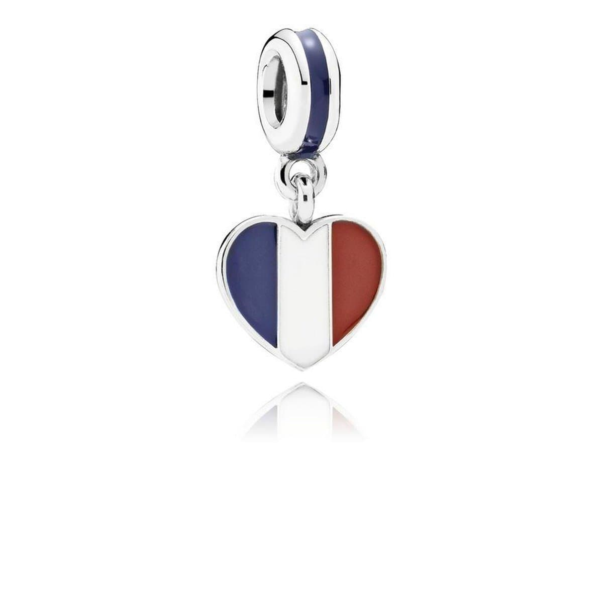 France Heart Flag, Blue, White & Red Enamel Charm - 791546ENMX-Pandora-Renee Taylor Gallery