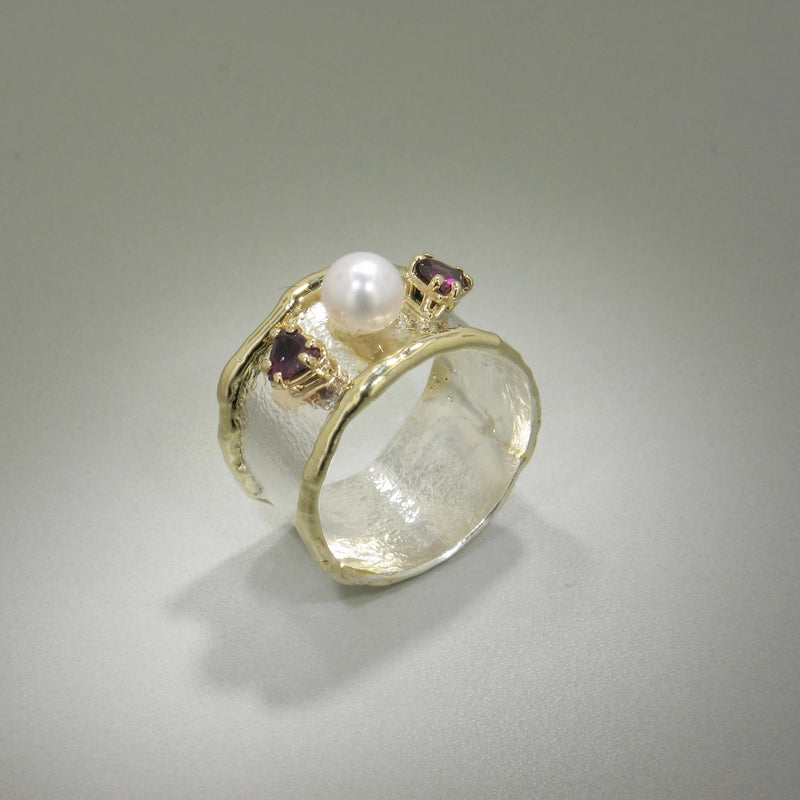 14K Gold & Crystalline Silver Blank Ring - 8346-Fusion Designs-Renee Taylor Gallery