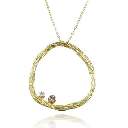 Pebble Medium Circle Diamond & Gold Pendant - 18P6-1-2G-YG-Sarah Graham-Renee Taylor Gallery