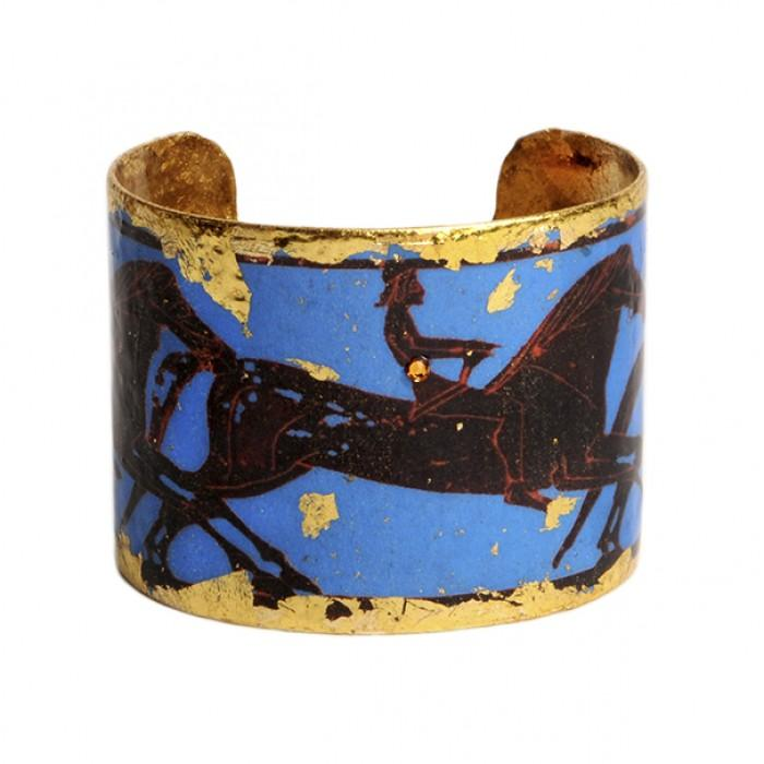 Greek Horses Blue Cuff - AC127-Evocateur-Renee Taylor Gallery