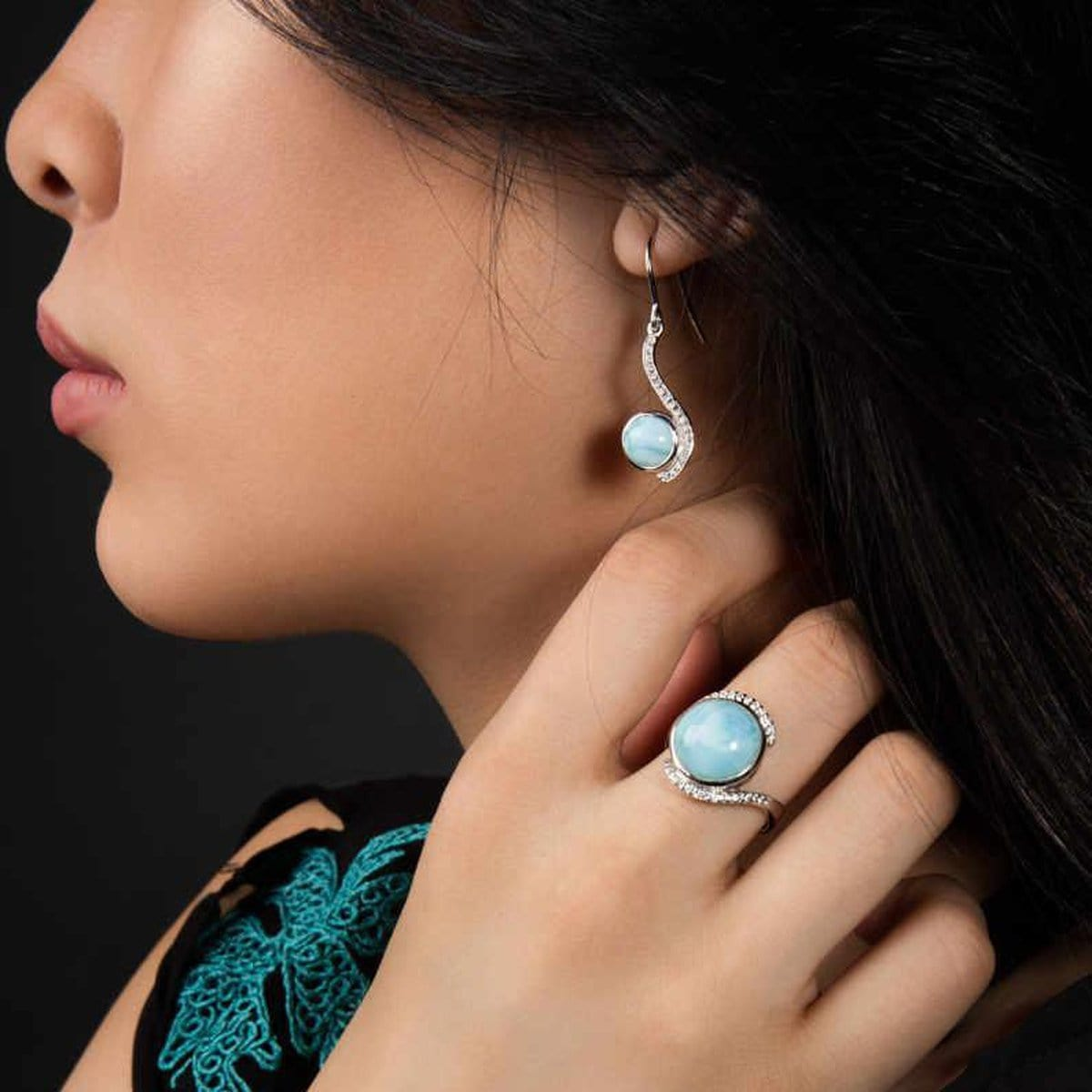 Adella Earrings - Eadel00-00-Marahlago Larimar-Renee Taylor Gallery