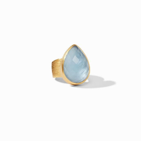 Aspen Statement Gold Iridescent Chalcedony Blue Ring - R155GICA-Julie Vos-Renee Taylor Gallery