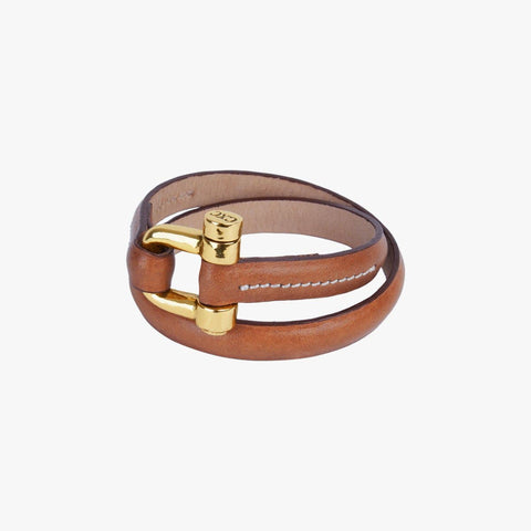 Gold Plated Leather Bracelet - B0021 ORC-CXC-Renee Taylor Gallery