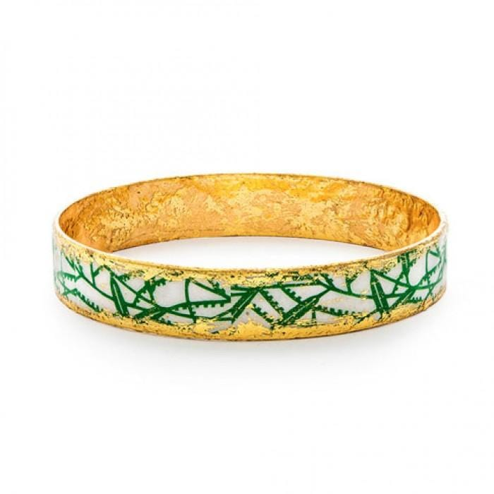 Green Bamboo Bangle - BA505-Evocateur-Renee Taylor Gallery