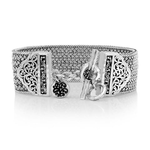 Sterling Silver Classic Large Textile Weave Bracelet - BB6693-00336-Lois Hill-Renee Taylor Gallery